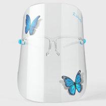 3D Butterfly Blue Teal Watercolor Monogram Elegant Face Shield