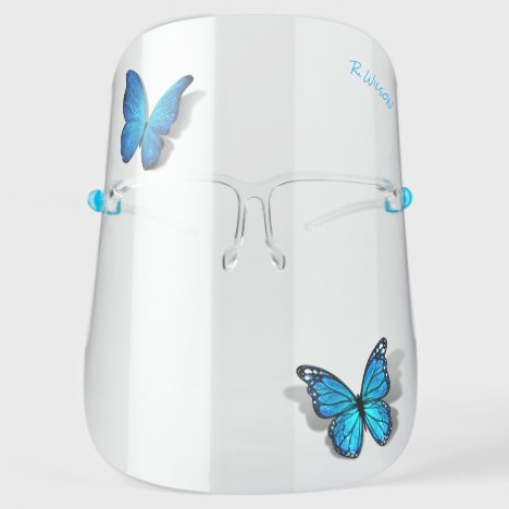 3D Butterfly Blue Teal Watercolor Monogram Elegant Face Shield