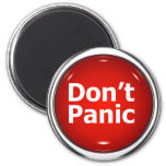 3d Button Don't Panic 2 Inch Round Magnet