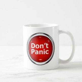 3d Button Don't Panic Classic White Coffee Mug