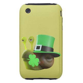 3d caracol del día del St Patricks (editable) Funda Resistente Para iPhone 3
