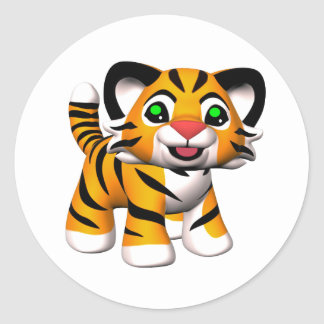 3D Cartoon Tiger Cub Classic Round Sticker