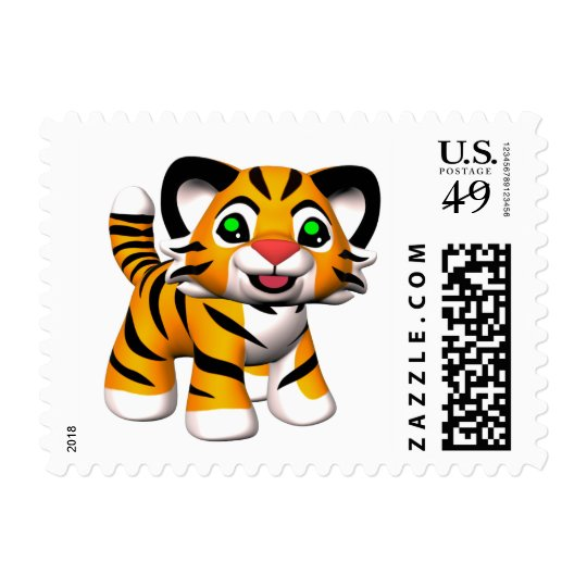 3D Cartoon Tiger Cub Custom Postage