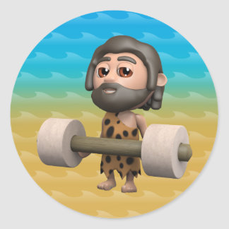 3d caveman lifts weights classic round sticker