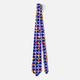 3D Checkered Nautical Navy Flags Neck Tie