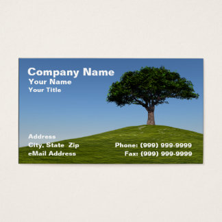 3D Cherry Tree on Hill Against Clear Blue Sky Business Card