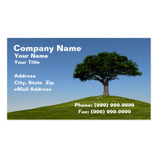 3D Cherry Tree on Hill Against Clear Blue Sky Business Card Templates