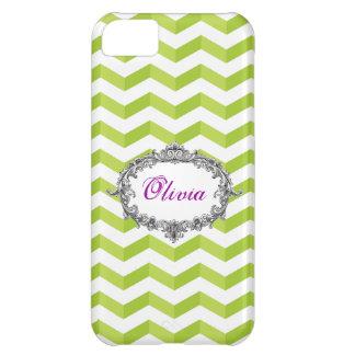 3D Chevrons Green /White iPhone 5 Case add ur Name