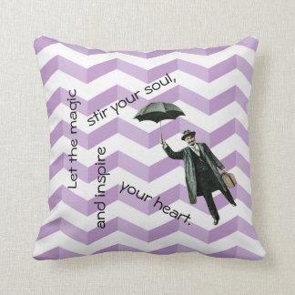 3D Chevrons Inspirational Pillow with Flying Man