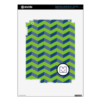 3D Chevrons iPad 3 Skin Blue and Green Personalize