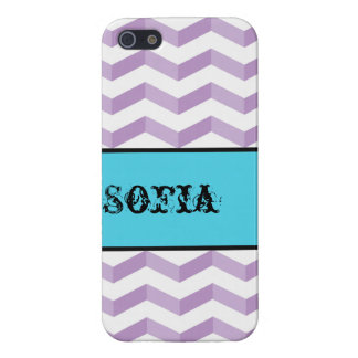 3D Chevrons Savvy iPhone 5/5S Violet w/ Name Label iPhone SE/5/5s Cover