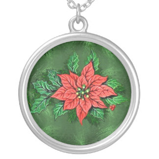 3D christmas flower with gem necklace