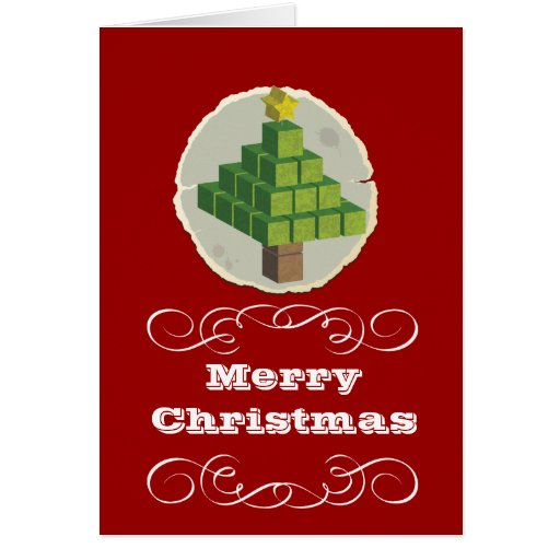 3D Christmas Tree Red Greeting Card
