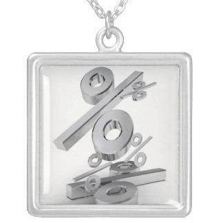 3D chrome percent symbols falling on a white Square Pendant Necklace