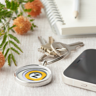 3D, circular Forms, degraded yellow Keychain