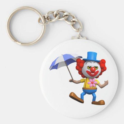3d-clown-umbrella basic round button keychain