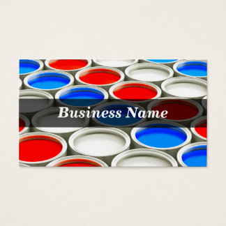 3D Colored Paint Cans (Alternating Red White Blue) Business Card
