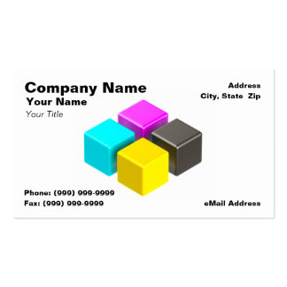 3D Colorful CMYK Blocks Business Card
