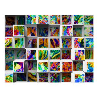 3D Colorful Cubes. Abstract Fantastic Multicolored Postcard