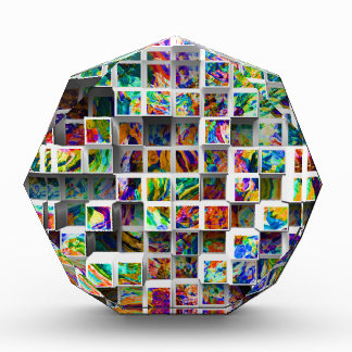 3D Colorful Medium Cubes. Abstract Multi Colors Award