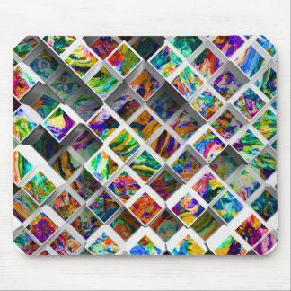 3D Colorful Medium Cubes Abstract Multi Colors Mouse Pad