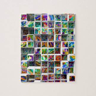 3D Colorful Medium Cubes. Abstract Multi Colors Jigsaw Puzzles