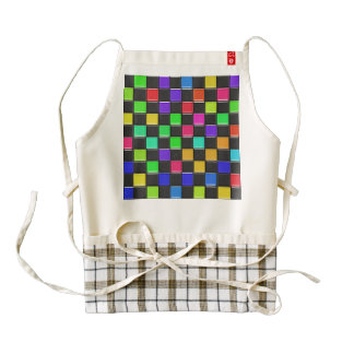 3d colorful squares pattern zazzle HEART apron
