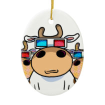 3D Cow specs Ceramic Ornament