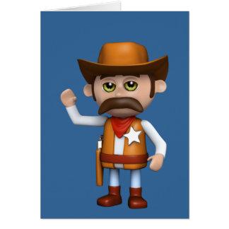 3d Cowboy Waving (Any Color U Like!) Card