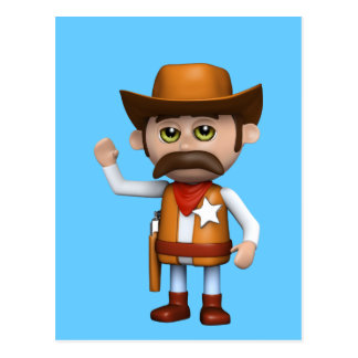 3d Cowboy Waving (Any Color U Like!) Postcard