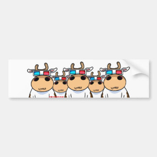 3D Cows Bumper Sticker
