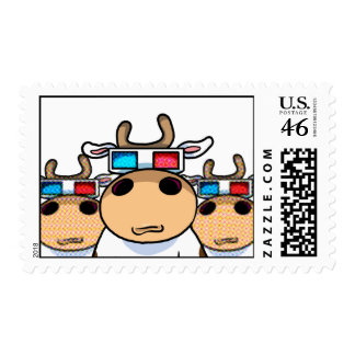 3D Cows Postage Stamp