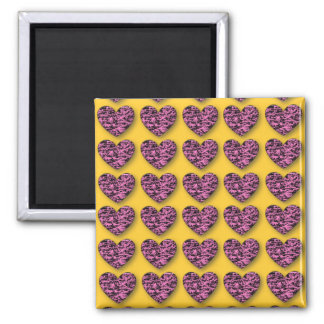 3d Crackle Hearts 2 Inch Square Magnet
