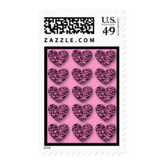 3D Crackle Hearts Postage