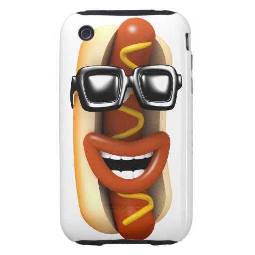 3d Crazy Hot Dog Sunglasses (Any Color U Like!) Tough iPhone 3 Cases