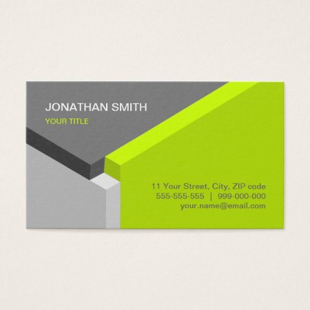 Lime and Gray Isometric 3D Cube Design Architects Architect Business Card Template