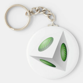 3D Cube Design with Green Globe Keychain