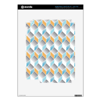 3d cube pattern - geometric design -seamless decals for iPad 3