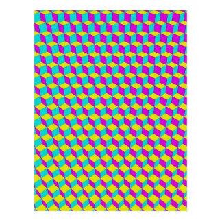 3D Cubes Grid Postcard