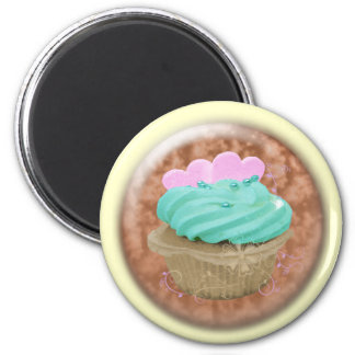 3D cupcake with hearts 2 Inch Round Magnet