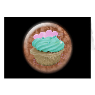 3D cupcake with hearts Greeting Card