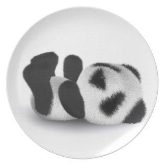 3d Cute Baby Panda Laying Down Plate