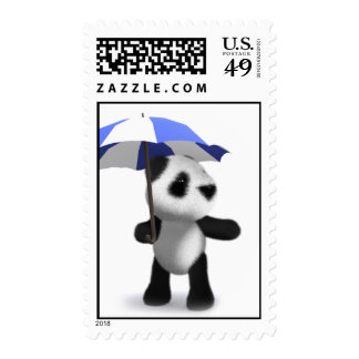 3d Cute Baby Panda with Umbrella Stamps