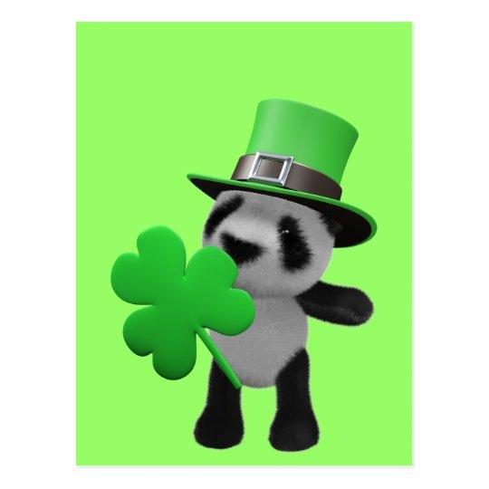 3d Cute Panda Leprechaun (editable) Postcard
