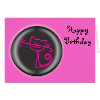 3D Cute Pink Cat Cartoon Card