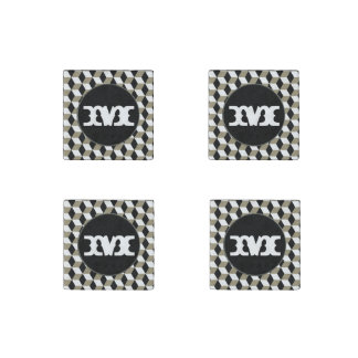 3D de los De color caqui-Cubos, negro y blanco Imán De Piedra