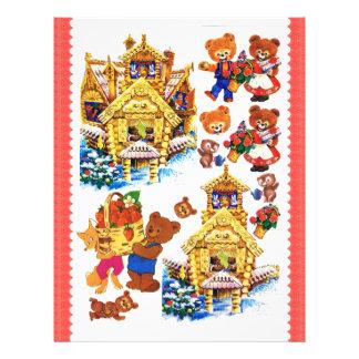 3D Decoupage - Christmas, Teddy bears house Letterhead