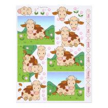 3D Decoupage - Cute Moo Cow Comtoise Cows Letterhead