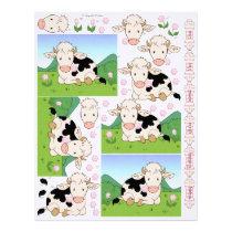 3D Decoupage - Cute Moo Cow Fresian Cows Letterhead