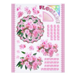 3D Decoupage - Floriade - círculo floral rosado Membrete A Diseño